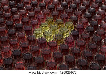 Tasting wine with palette of red roze and white wines in glasses on the wooden table. Glasses of white wine surrounded by glasses of red and pink wine.