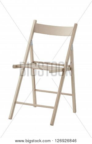 Side view of folding wooden chair isolated on white background. In the work position. Include path.