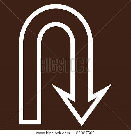 U Turn vector icon. Style is thin line icon symbol, white color, brown background.