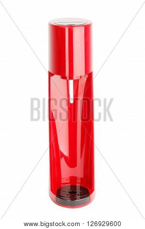 Soda sifon or Seltzer bottle. Red and black plastic. Side view. Isolated on white background.