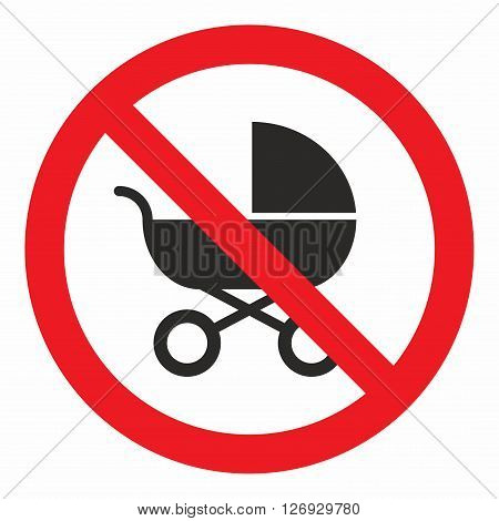 No baby carriage sign, area where baby transport can not be used