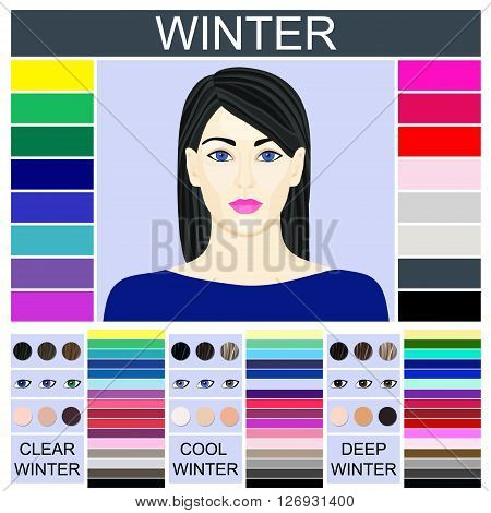 Stock vector set of three winter types of female appearance and face of young woman