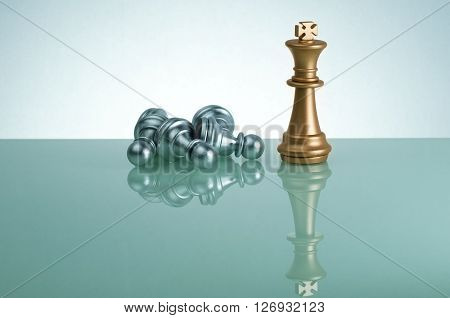 Golden King And  Silver Pawn - Leadership Concept