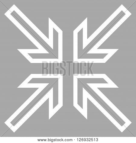 Implode Arrows vector icon. Style is contour icon symbol, white color, silver background.