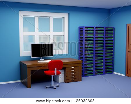 room of system administrator in cartoon style. 3d illustration.