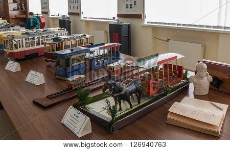 Kiev Ukraine - 25 march 2016: The models municipal transportation by horse tram to the museum of modern urban free transport in Kiev Ukraine