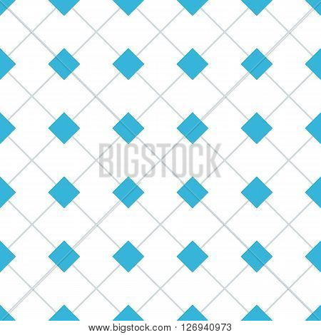 Rhomb vector seamless pattern. Geometric seamless texture with blue rhombs and perpendicular lines on white background. EPS8 vector illustration. Pattern swatch included.