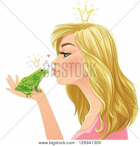 Vector illustration. Young beautiful lady kisses a green frog. Isolated on white background
