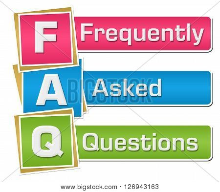 FAQ text alphabets written over colorful background.