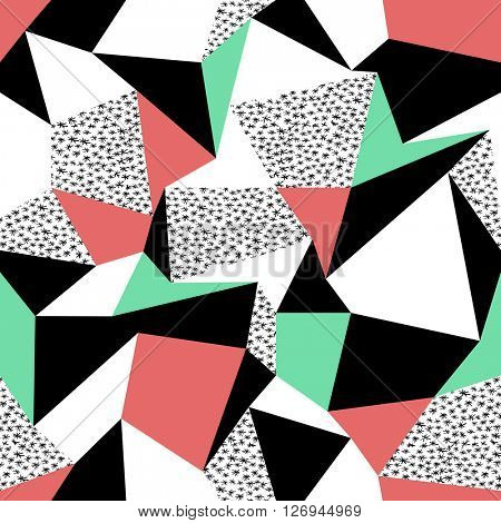 Pink and green triangles pattern design. Seamless print in retro style. Hand drawn asterisk