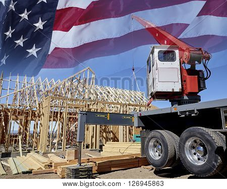 Construction crane setting house roof truss building America USA flag concept photograph