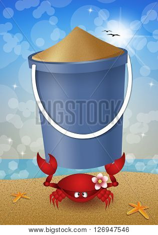an illustration of Funny crab with bucket sand