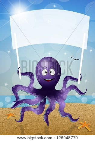 an illustration of Octopus with sign on the beach