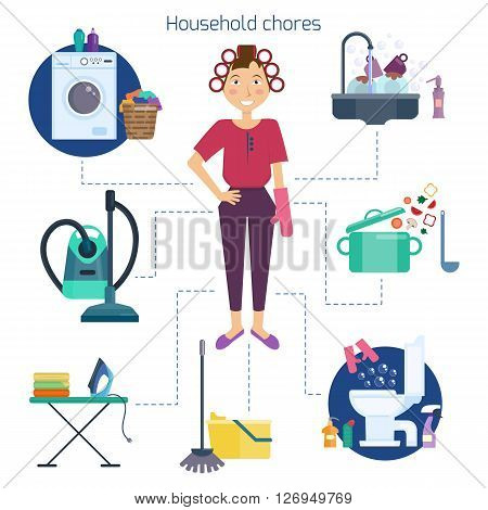Housewife cleaning home. Homemaker and household chores. Washing dirty linen and dishes, vacuuming by vacuum cleaner and ironing clothes, cooking and washing floor