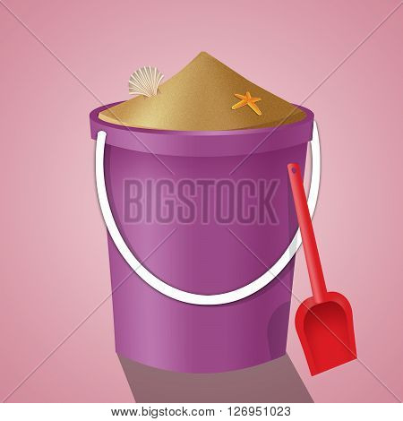 an illustration of pink bucket with sand