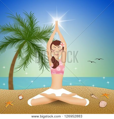 an illustration of Woman in yoga pose on the beach