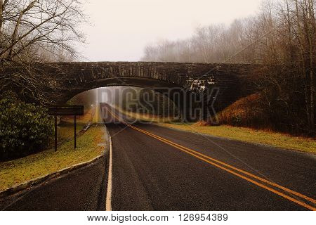 Old brige over road through a golden spooky forest with fog