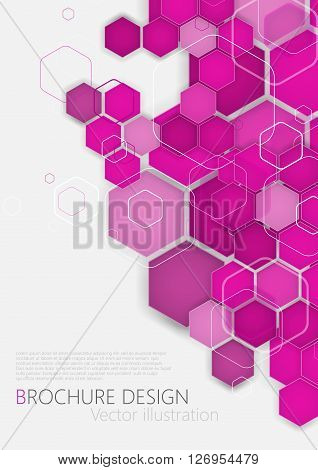 Business Brochure Cover Design Template. Vector. Pink Background