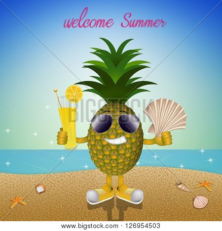an illustration of Funny pineapple on the beach
