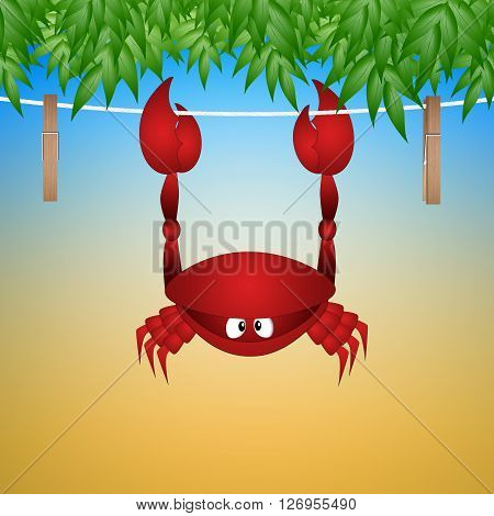 a funny illustration of a crab hanging