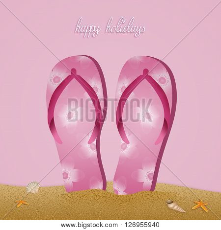 Flip-flops on the beach for Happy holidays