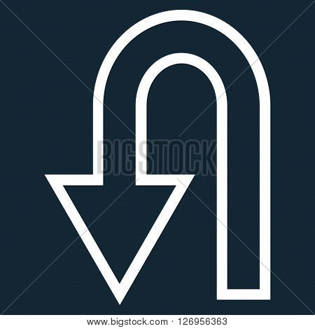 Turn Back vector icon. Style is contour icon symbol, white color, dark blue background.