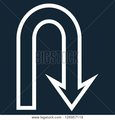 U Turn vector icon. Style is outline icon symbol, white color, dark blue background.