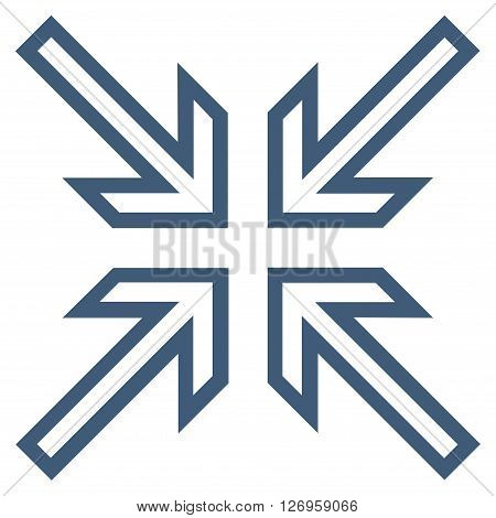Implode Arrows vector icon. Style is outline icon symbol, blue color, white background.