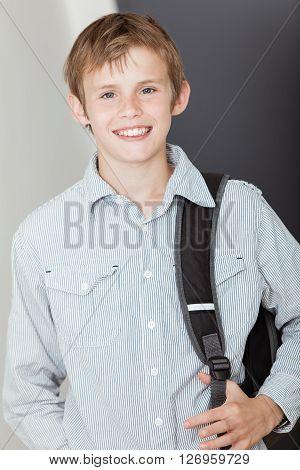Smiling Happy Vivacious Young Schoolboy