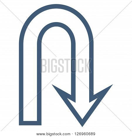 U Turn vector icon. Style is contour icon symbol, blue color, white background.