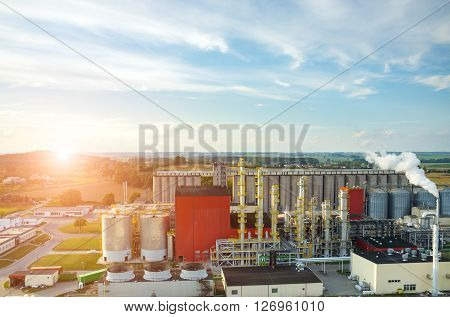 Sunset Over Biofuel Factory