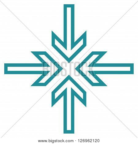 Implode Arrows vector icon. Style is thin line icon symbol, soft blue color, white background.