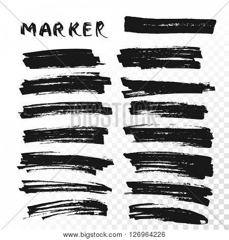 Vector Permanent Marker Brush Lines.