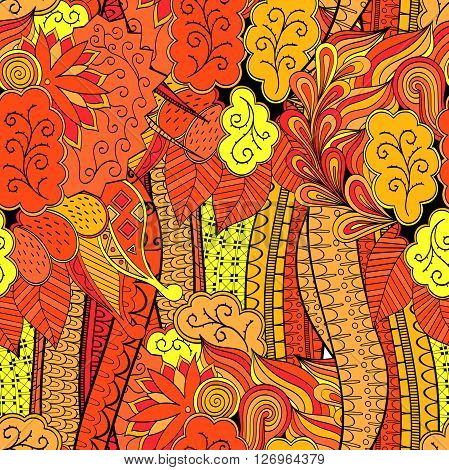 Tracery Seamless Calming Orange Pattern. Mehendi Design. Neat Even Harmonious Doodle Texture. Ambiti