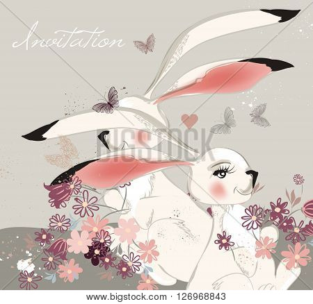 Beautiful hand drawn illustration with cute rabbits and field of flowers can be used hove valentines day greeting background