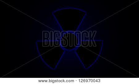 Vector illustration Radiation danger symbol blue, background