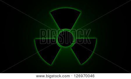 Vector illustration Radiation danger symbol green, background