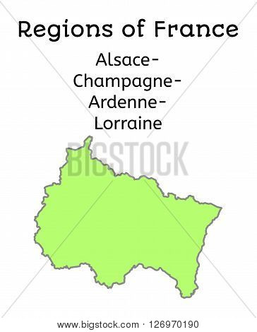 France administrative map of Alsace-Champagne-Ardenne-Lorraines region on white