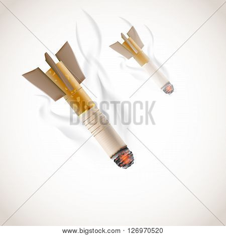 No smoking conceptual illustration with cigarettes falling as bombs with smoke. Vector