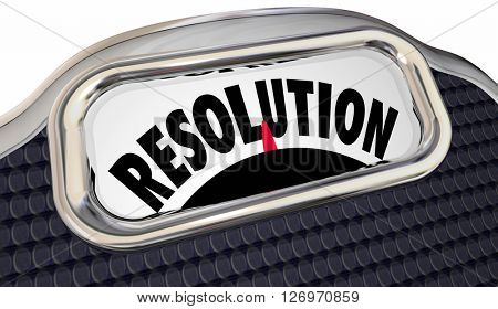 Resolution Word Scale New Year Promise Commitment Lose Weight poster