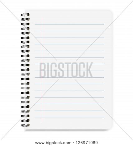 Blank Realistic Notebook Size A4 With Lines Isolated On White Background