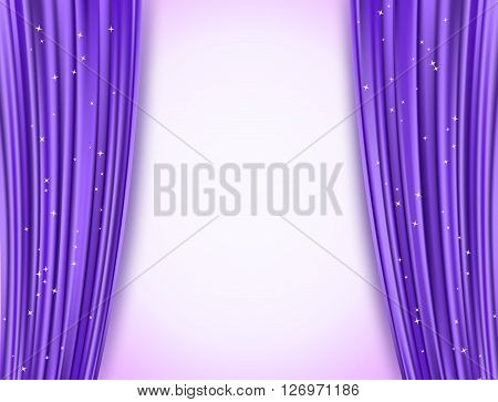 violet theater curtains with glitter. abstract background with opera violet drapes and glittering stars. horizontal vector illustration