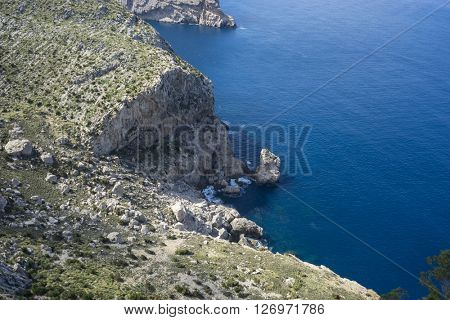 paradise, cliffs in Formentor, region north of the island of Mallorca in Spain