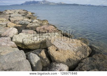 rocks by the Mediterranean Sea on the island of Mallorca in Spain