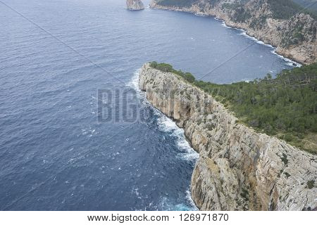 cliffs in Formentor, region north of the island of Mallorca in Spain