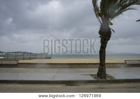 Mallorca beach with stormy sky, seashore without people