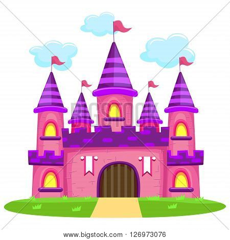 Stock Vector Illustration of Large Pink Castle