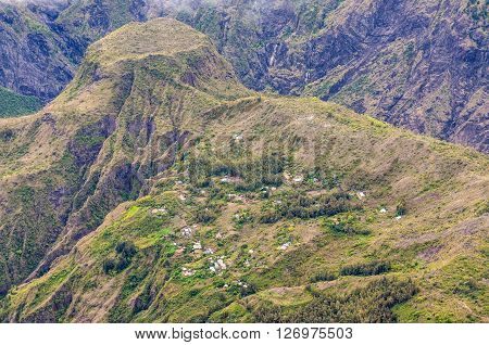Village in the mountains of the Mafate Cirque Reunion Island. The Mafate cirque can only be entered by helicopter or on foot. Mafate is a UNESCO listed as world heritage.