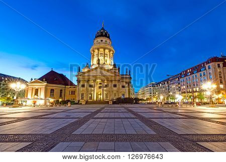 The French Dom at the Gendarmenmarkt in Berlin at night