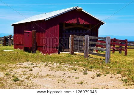 Rustic wooden horse stable taken at an abandoned ranch taken on Santa Rosa Island, CA